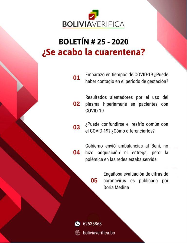 ¿Se acabó la cuarentena? – Boletín 25 – 2020