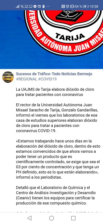 Universidad Juan Misael Saracho de Tarija aún no está produciendo dióxido de cloro
