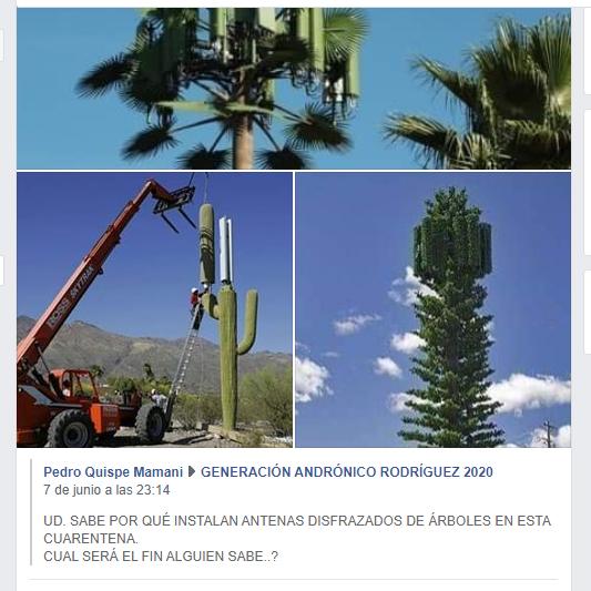 Publican imágenes pasadas de antenas camufladas como si estuviesen siendo instaladas en cuarentena