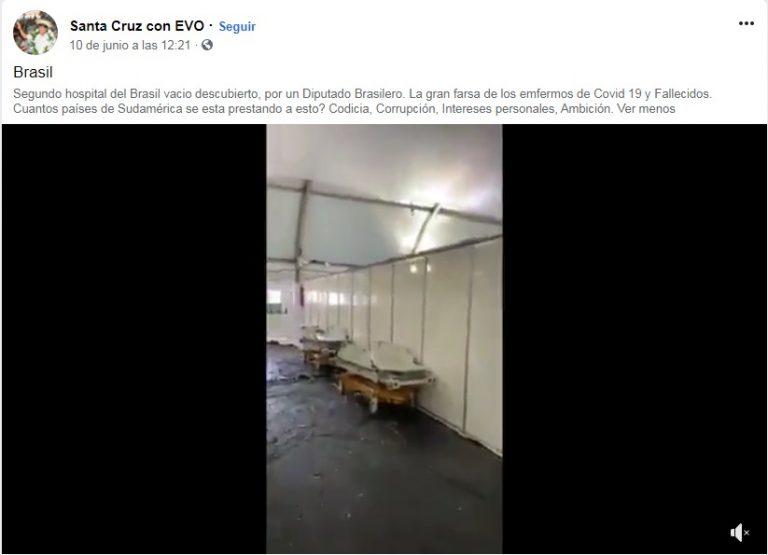 Con un video aseguran que un hospital de Brasil está vacío y que el coronavirus es una farsa