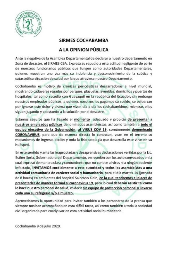 ¿El SIRMES Cochabamba invitó a la gobernadora Soria a una jornada de 8 horas en un hospital para que conozca al coronavirus?