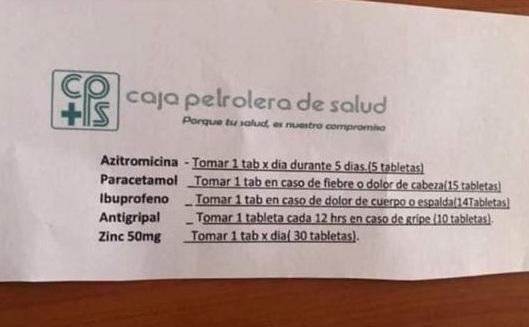 Caja Petrolera de Salud brinda recetario público para pacientes COVID-19