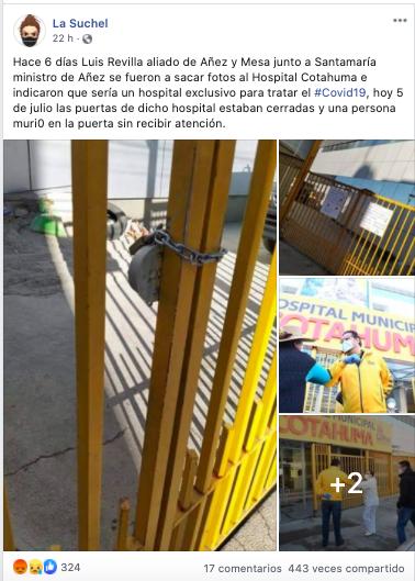 Hospital de Cotahuma NO está cerrado pero se encuentra a punto de llenarse