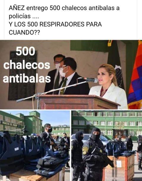 Los 500 chalecos antibalas fueron donados por la Policía de Suiza, no entregados por Jeanine Áñez