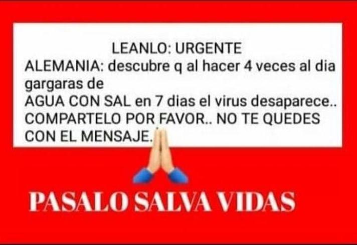FALSO: Las gárgaras de sal no eliminan el coronavirus