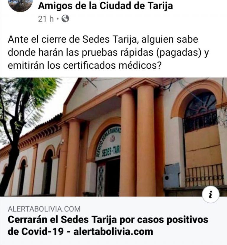 Oficinas del Sedes Tarija fueron cerradas solo este lunes