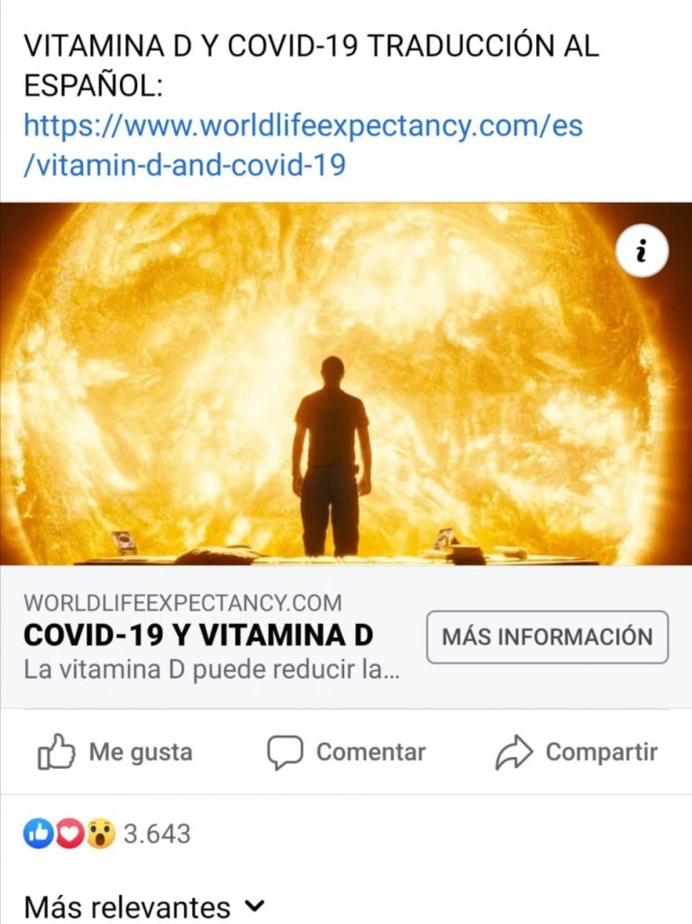 La vitamina D es buena para la salud, pero no evita el coronavirus