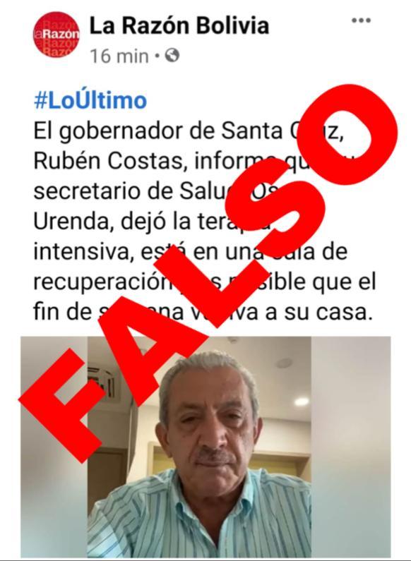 Oscar Urenda aún está en terapia intensiva, una publicación errada generó confusión