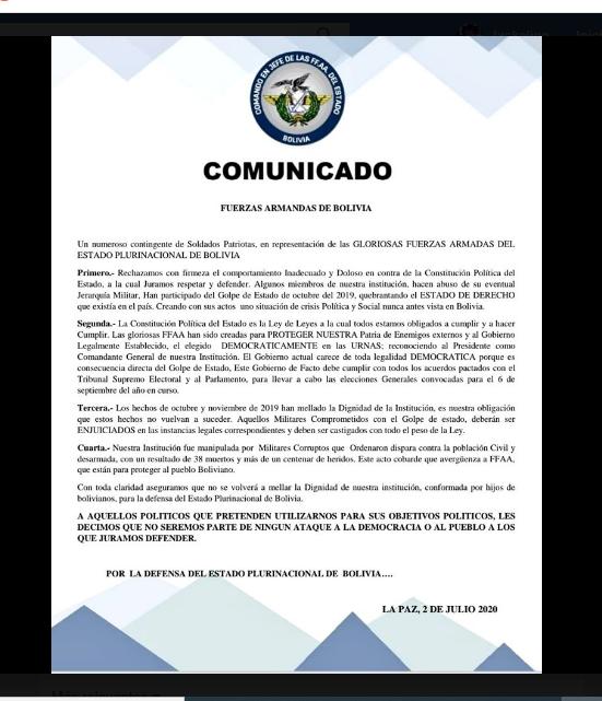 Circula un comunicado falso atribuido a las FFAA