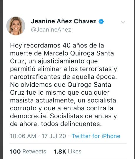Aprovechan una fecha cruenta de la histórica para difundir un tuit falso atribuido a Áñez