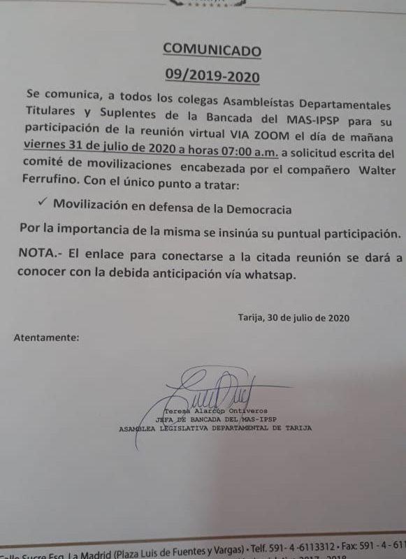 No existe convocatoria oficial de la Asamblea de Tarija a movilizaciones