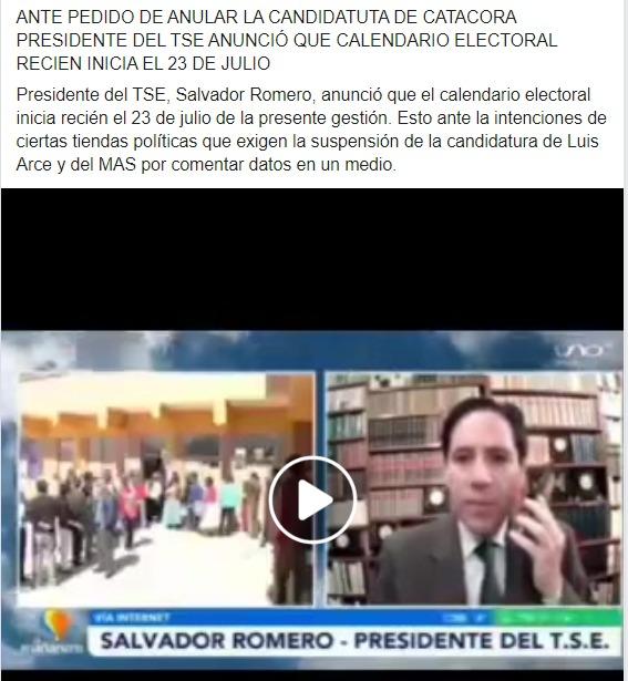 Salvador Romero no se pronunció aún sobre la posibilidad de anular al MAS