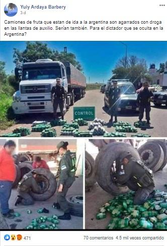 No se detuvo a ningún camión de fruta que llevaba droga a la Argentina