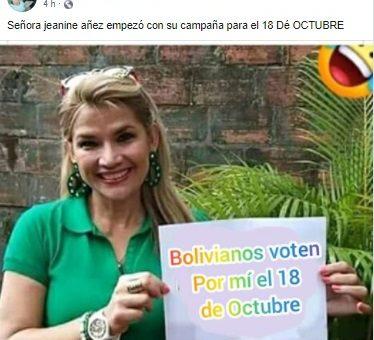 ¿Jeanine Áñez posa para foto de campaña electoral? No, la imagen está manipulada