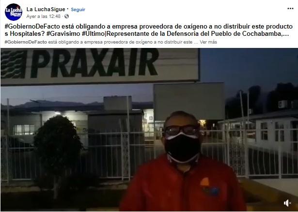 Actualizado. El gobierno coordina con PRAXAIR la distribución de oxígeno en los hospitales pero no necesita autorización