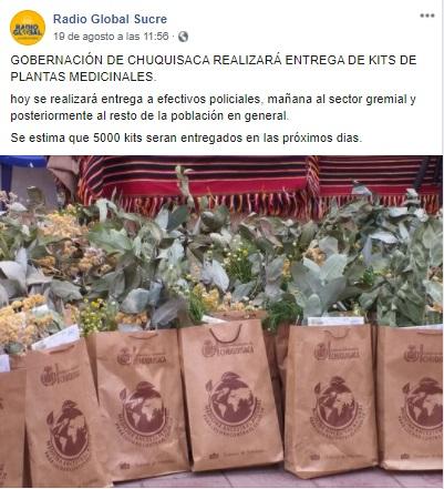 Kits de medicina natural de la Gobernación de Chuquisaca no cuestan Bs. 500
