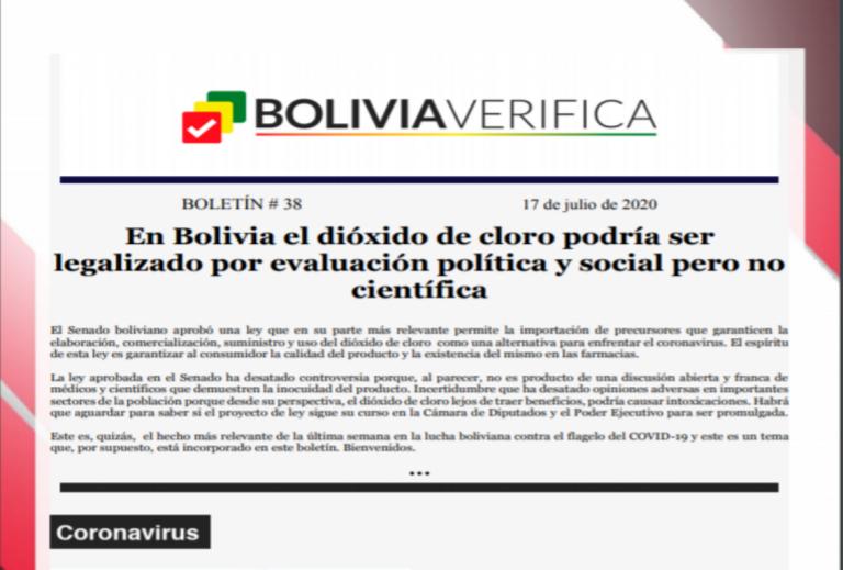 Boletín 38 – En Bolivia el dióxido de cloro podría ser legalizado por evaluación política y social pero no científica – 2020