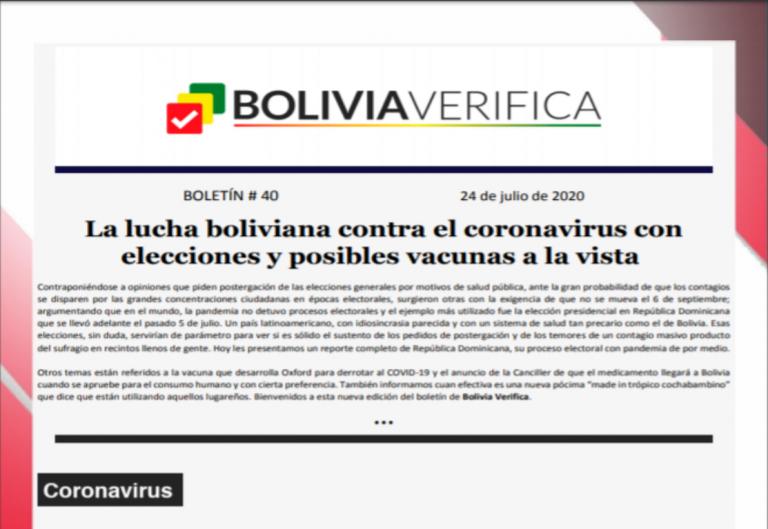 Boletín 40 – La lucha boliviana contra el coronavirus con elecciones y posibles vacunas a la vista – 2020