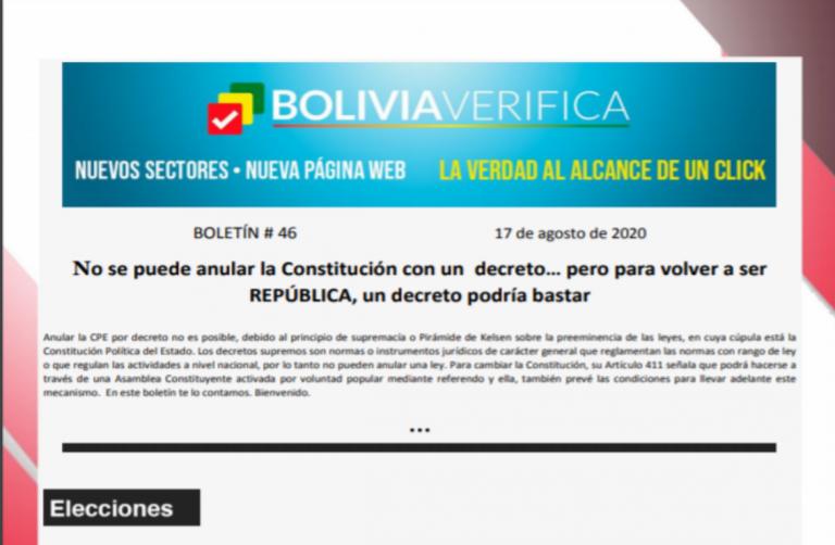 Boletín 46 – No se puede anular la Constitución con un decreto… pero para volver a ser REPÚBLICA, un decreto podría bastar  – 2020