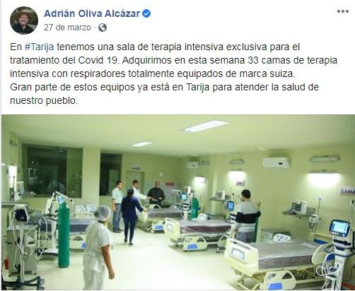 Gobernación de Tarija solo entregó ocho de los 33 respiradores anunciados