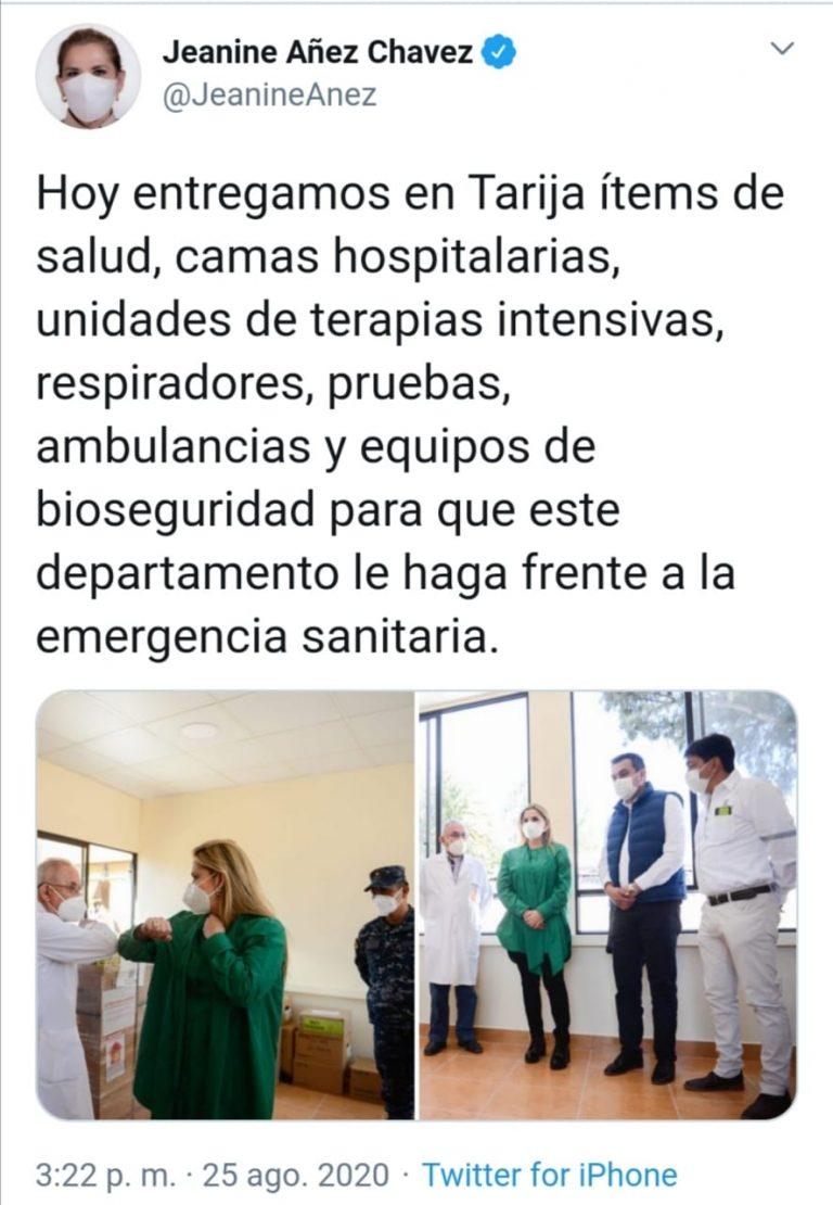 El Gobierno entregó ítems de salud a Tarija pero ninguno el 25 de agosto