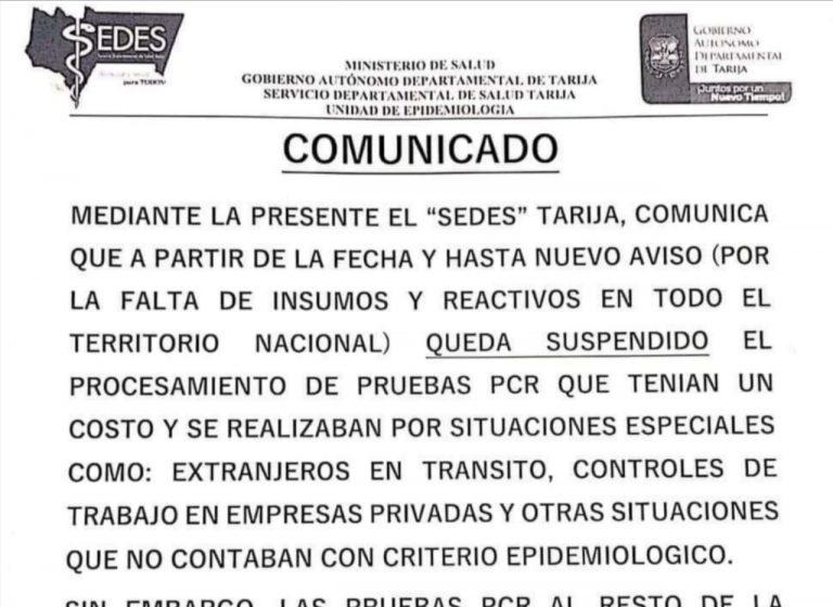 Crítica situación en Sedes Tarija restringe pruebas PCR por falta de reactivos