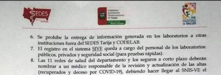 Tarija suma resultados de pruebas rápidas al Sistema Nacional de Información