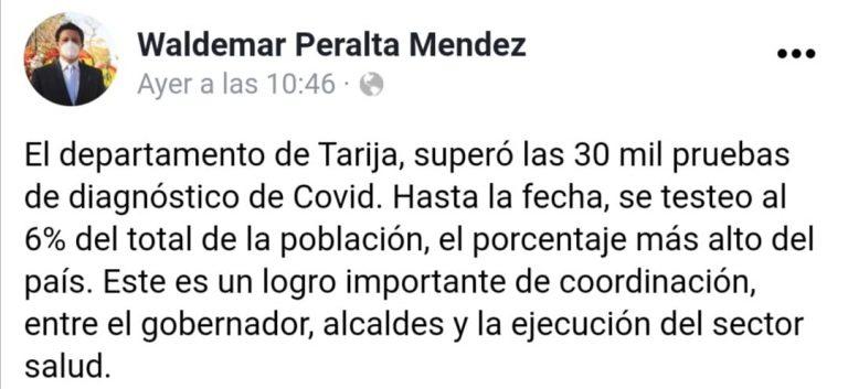 Tarija realizó 9.251 pruebas PCR hasta la fecha, no 30.000