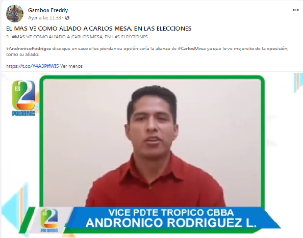 Es falso: Andrónico no dijo que el MAS ve como aliado a Carlos Mesa
