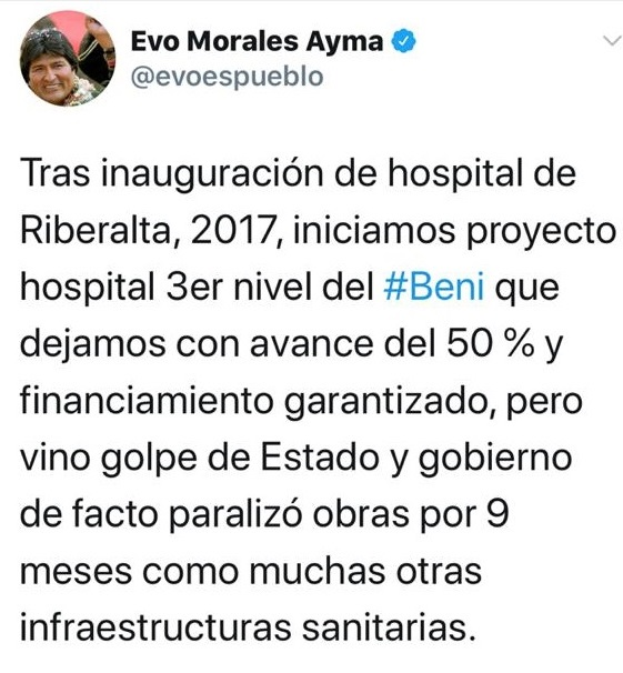 Ni está al 50% ni se paralizó por nueve meses: Evo Morales da dos datos falsos sobre el hospital de Beni