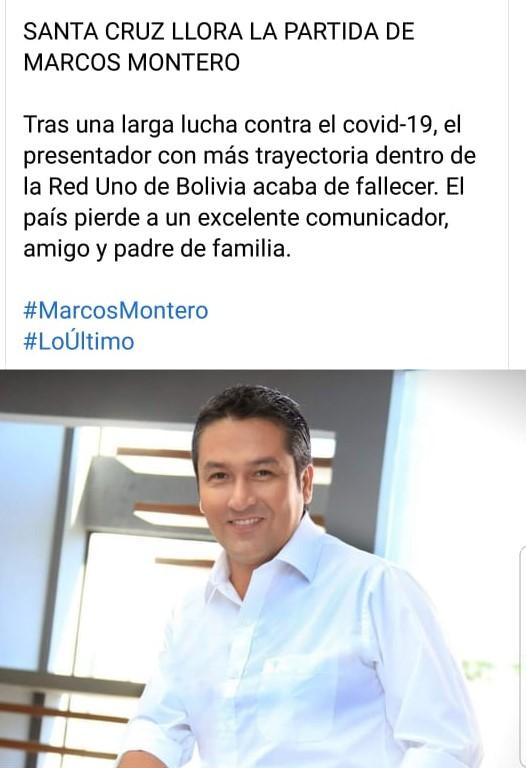 Marcos Montero no falleció, pero continúa conectado a un ventilador mecánico