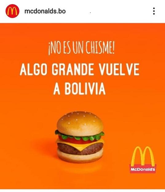 No es cierto que McDonald's regresa a Bolivia