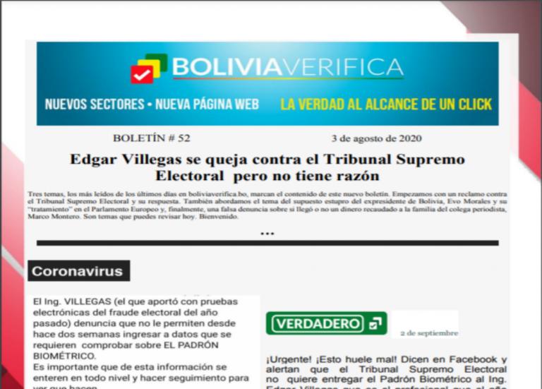 Boletín 52 – Edgar Villegas se queja contra el Tribunal Supremo Electoral  pero no tiene razón – 2020