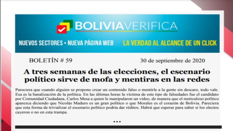 Boletín 59 – A tres semanas de las elecciones, el escenario político sirve de mofa y mentiras en las redes – 2020