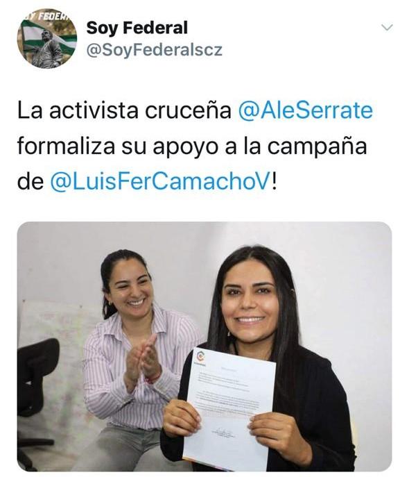 La activista Alejandra Serrate respalda la candidatura de Luis Fernando Camacho