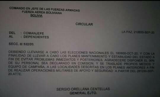 Comunicado sobre desplazamiento de militares en Bolivia es falso
