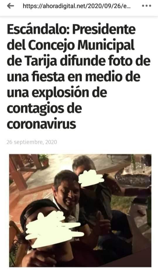 Imagen del presidente del Concejo Municipal de Tarija pertenece a una reunión familiar