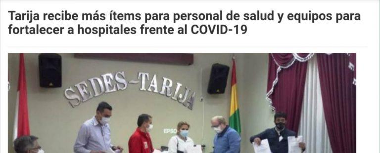 Sí, Tarija recibió 400 ítems para salud en esta gestión