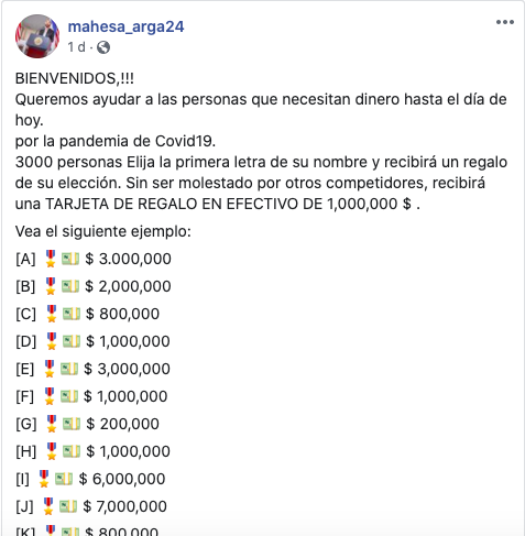 Páginas en Facebook engañan con regalar dinero