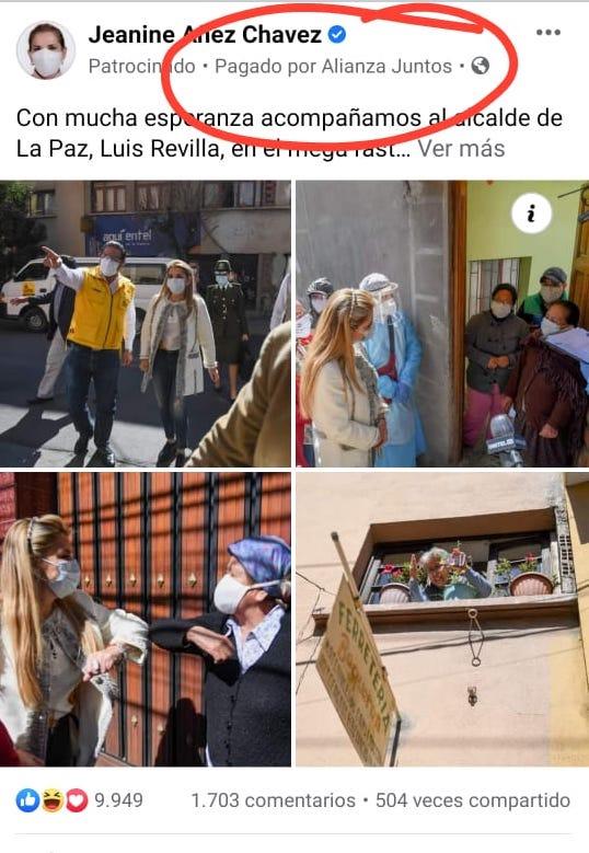 Las publicaciones de la presidenta Jeanine Áñez son patrocinadas por la alianza Juntos
