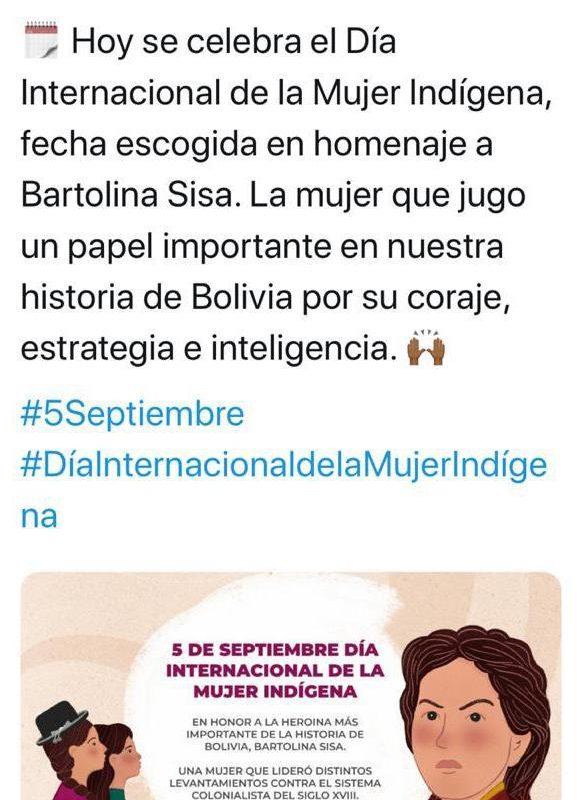 El Viceministerio de Comunicación utilizó una imagen de Juana Azurduy en vez de Bartolina Sisa