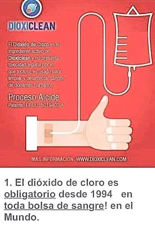 No es cierto que el dióxido de cloro se use en la desinfección de la sangre para las transfusiones