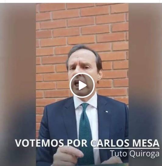 Circula video de Tuto Quiroga pidiendo el voto para Carlos Mesa, pero fue en 2019