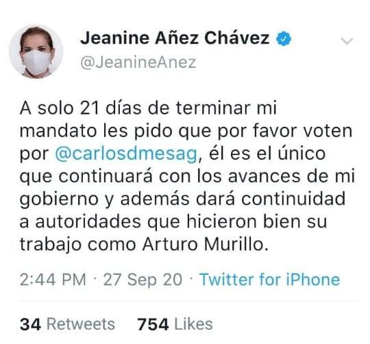 Áñez no pidió a sus seguidores votar por Carlos Mesa