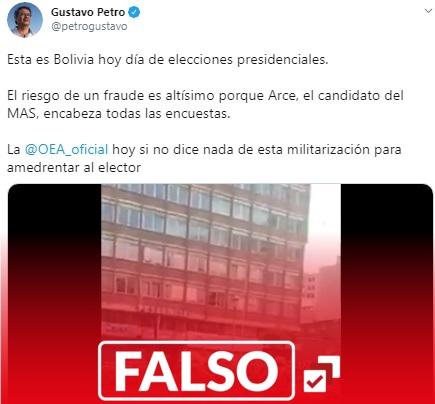 Gustavo Petro desinforma sobre Bolivia: publica un video que no corresponde a la fecha y lo relaciona con «amedrentamiento y riesgo de fraude»