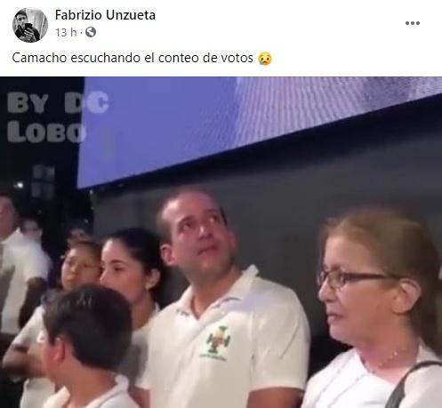 Luis Fernando Camacho no lloró al escuchar el cómputo de votos como indica este video