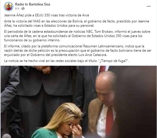 Falso, el Gobierno de Jeanine Áñez no solicitó 350 visas a Estados Unidos