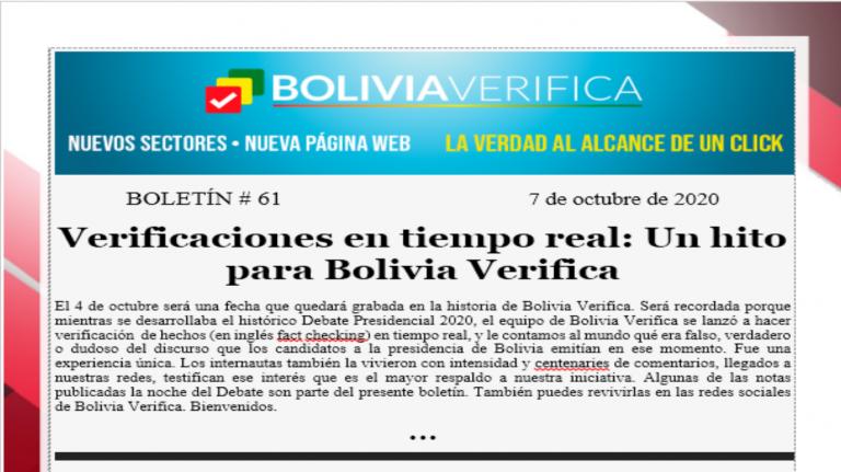 Boletín 61 – Verificaciones en tiempo real: Un hito para Bolivia Verifica – 2020