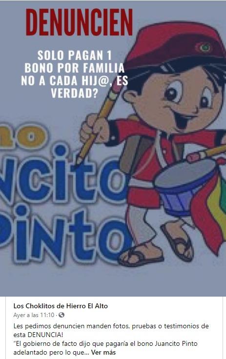 El bono Juancito Pinto es por estudiante no por familia