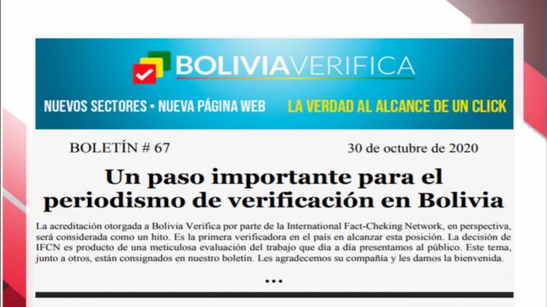 Boletín 67 – Un paso importante para el periodismo de verificación en Bolivia – 2020